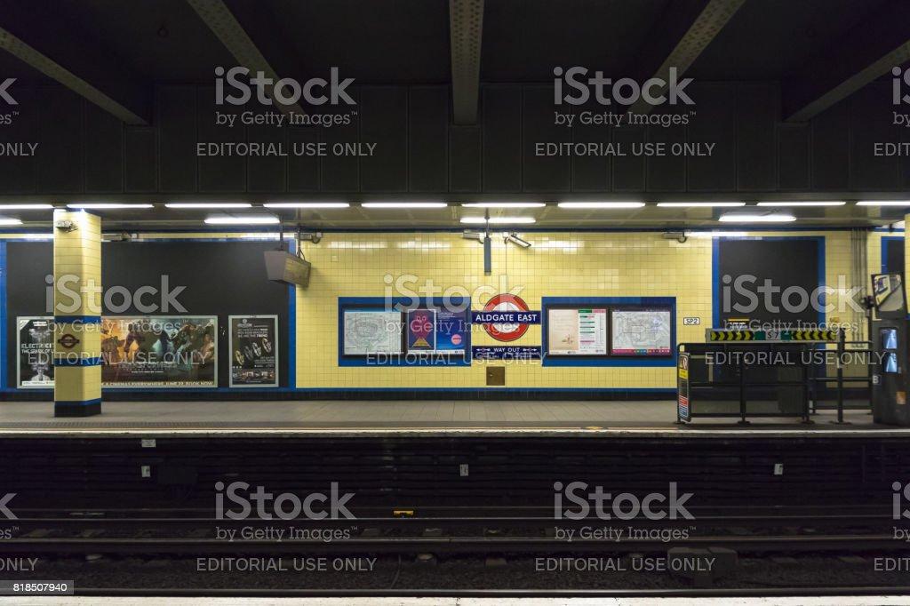Empty platform at Aldgate East tube station stock photo