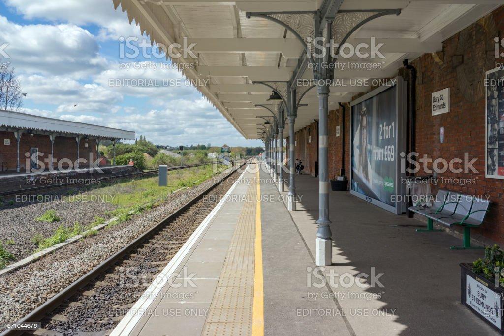 Empty platforms at Bury St Edmunds station stock photo