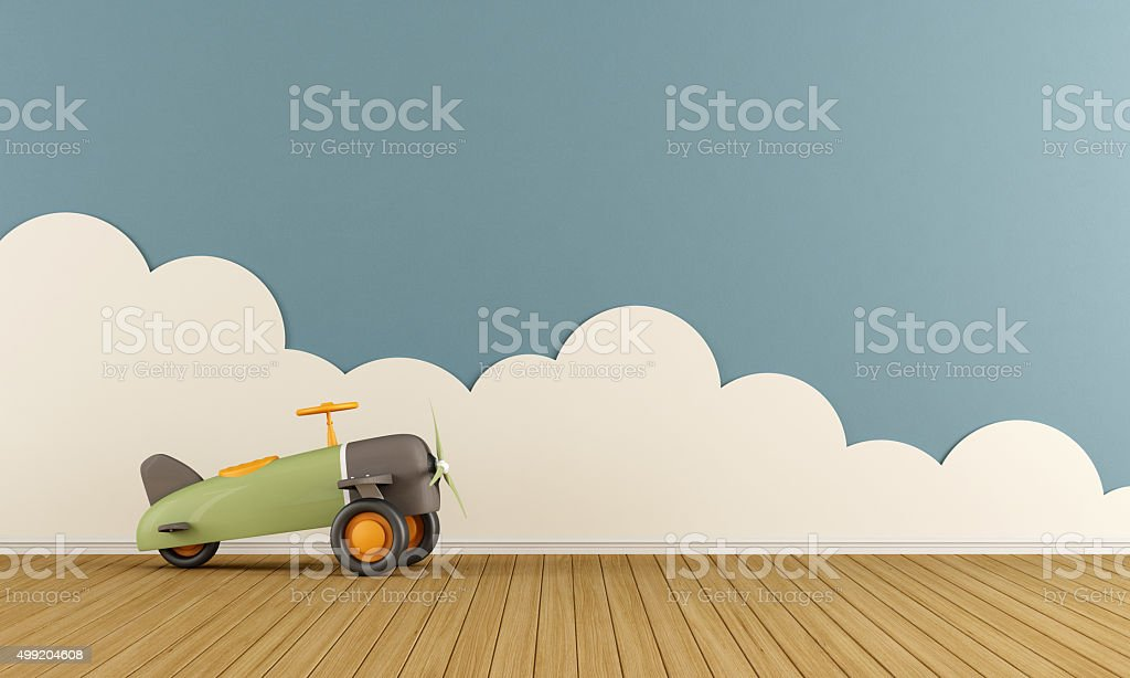Empty playroom with toy plane stock photo