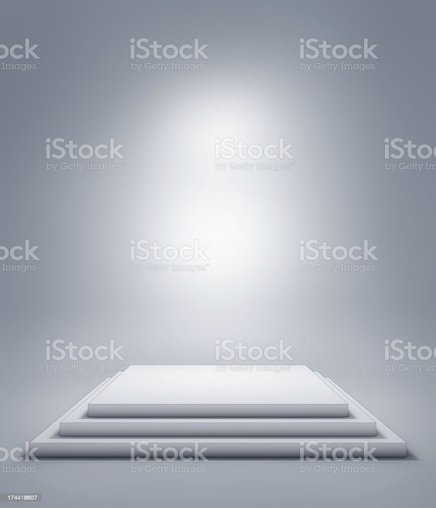 Empty plinth or podium with a white background stock photo