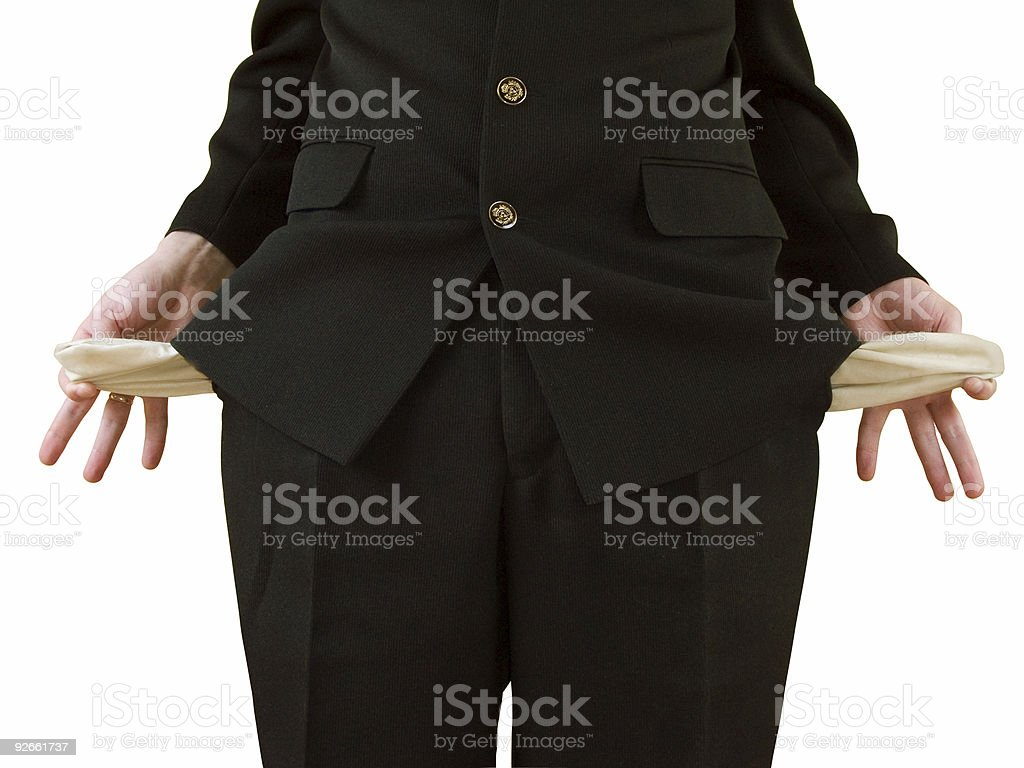 Empty pockets stock photo