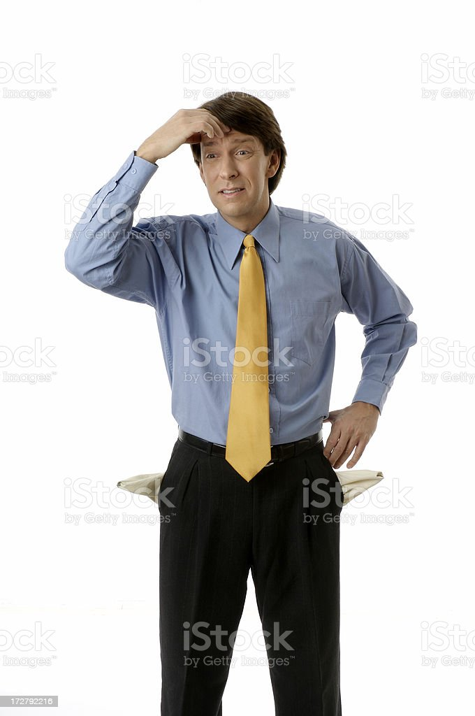 Empty Pockets The Poor Businessman stock photo