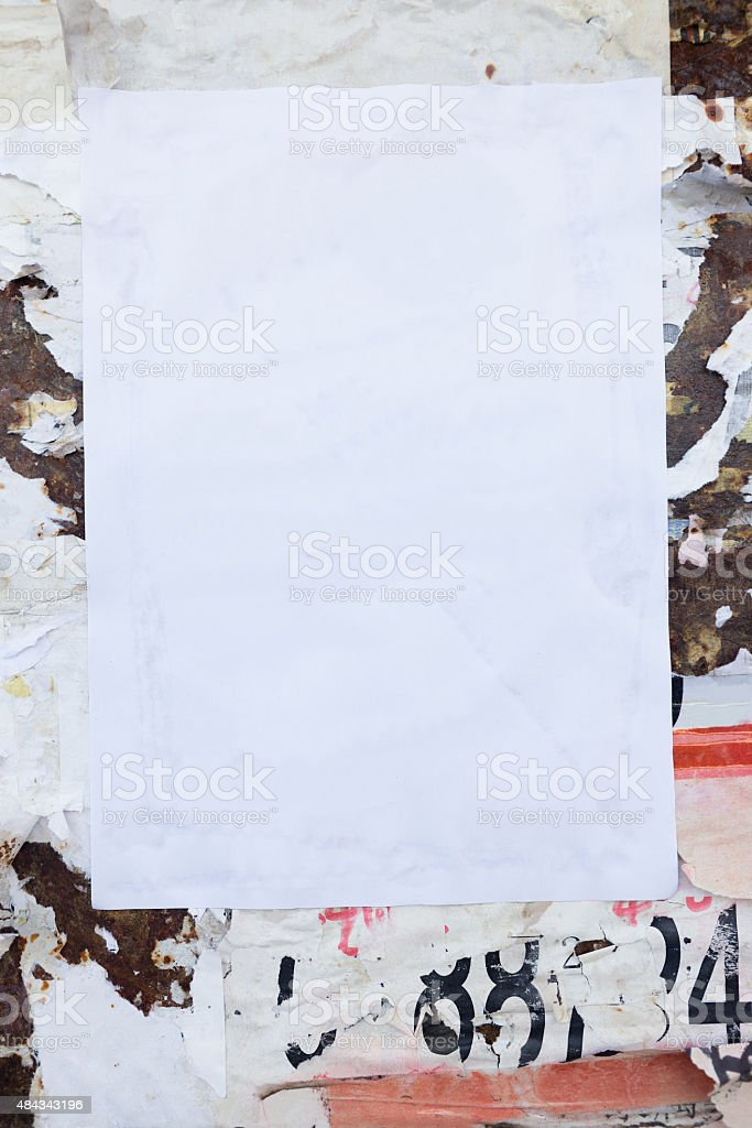 Empty poster on grunge wall stock photo