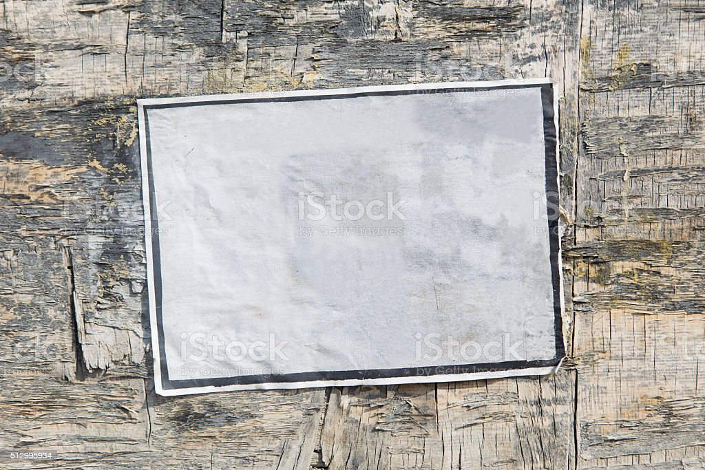 Empty poster on old board stock photo