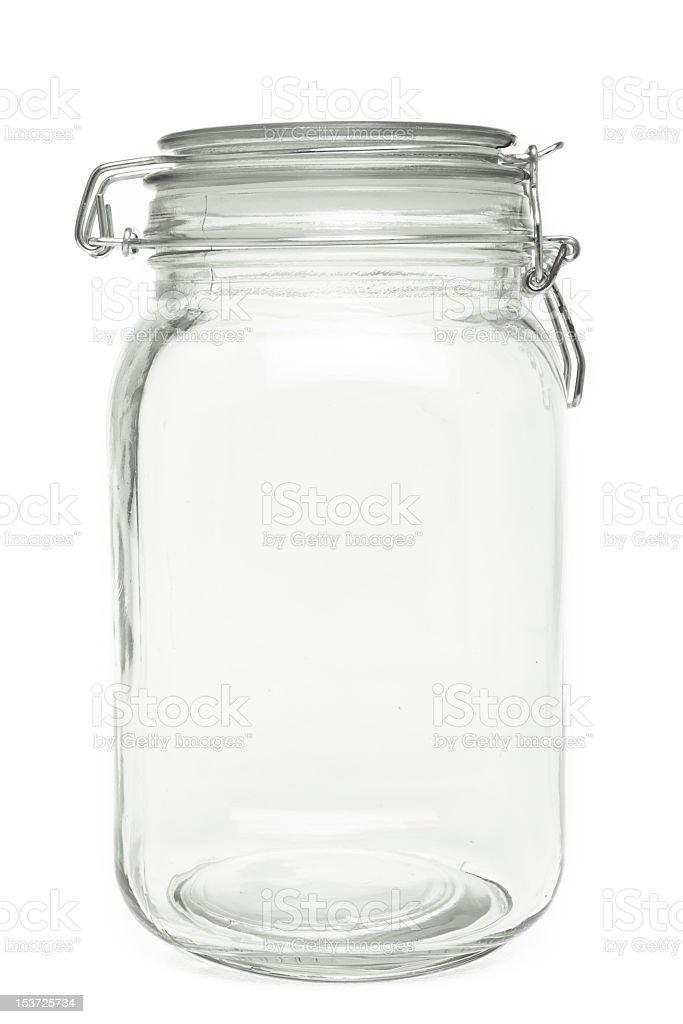 Empty preserve jar on white background stock photo