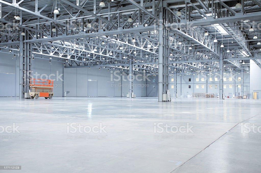 Empty pretty modern storehouse stock photo