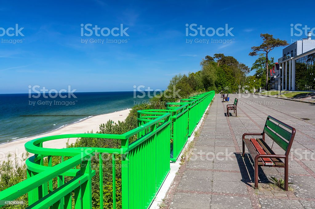 Empty promenade before the season stock photo