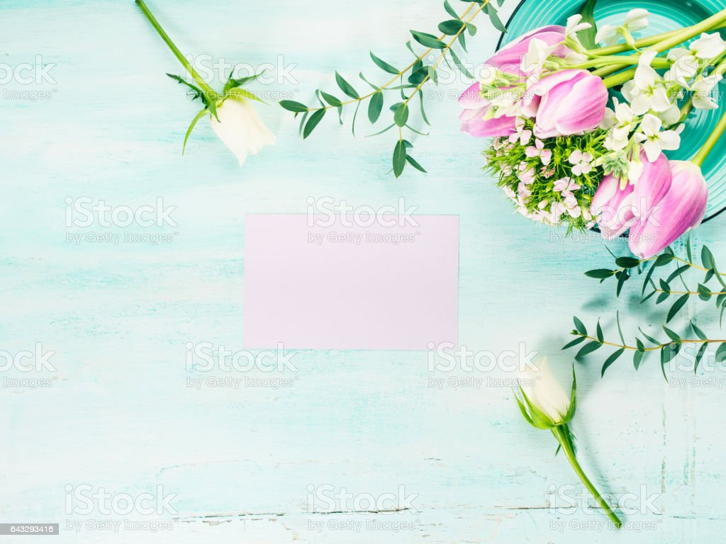 Empty purple card flowers tulips roses spring pastel colors stock photo