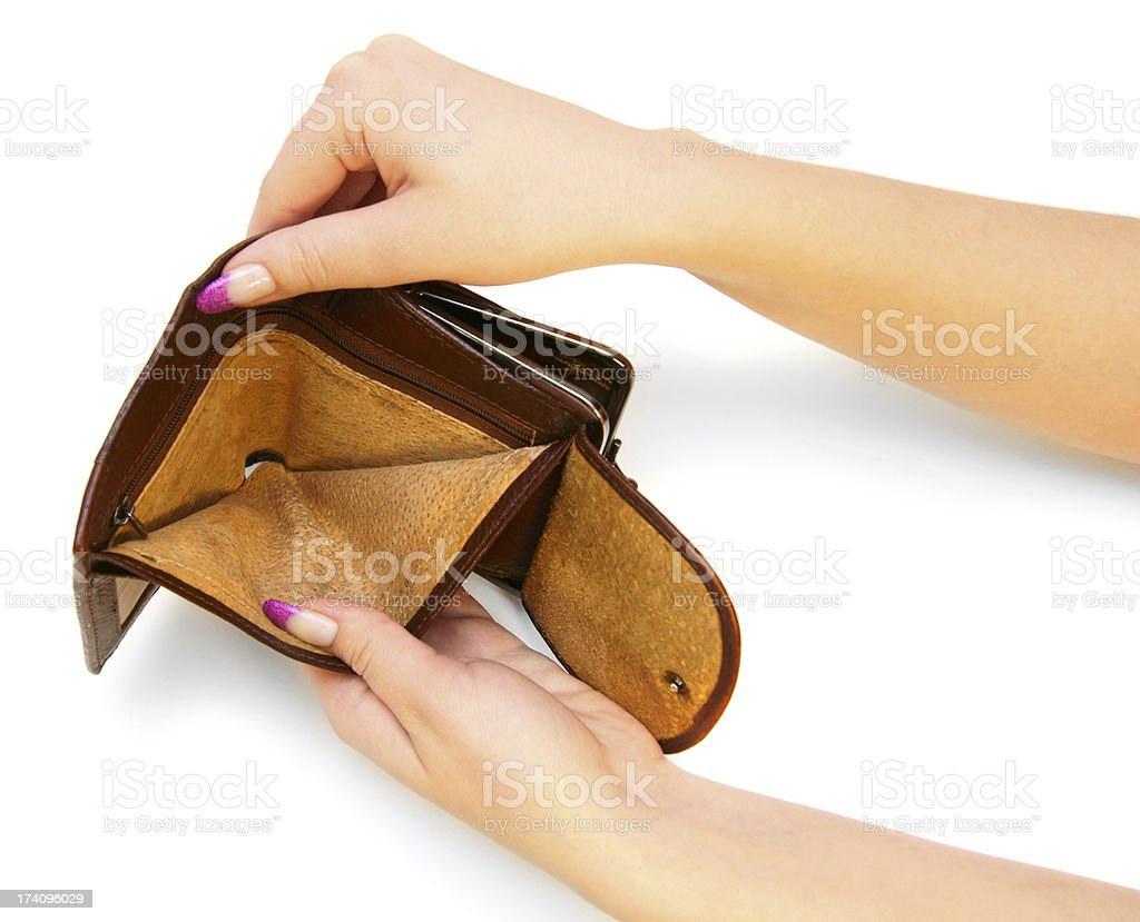 Empty purse in hands. On a white background. royalty-free stock photo
