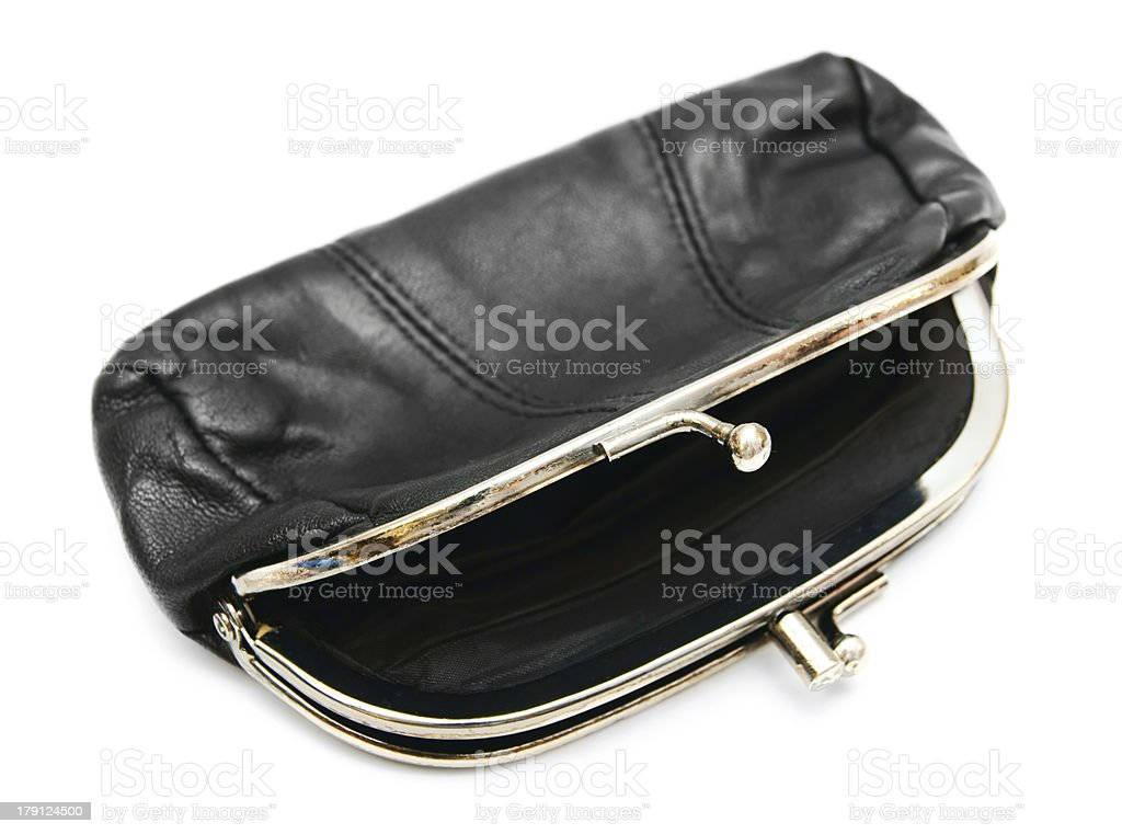 Empty purse. On a white background. royalty-free stock photo