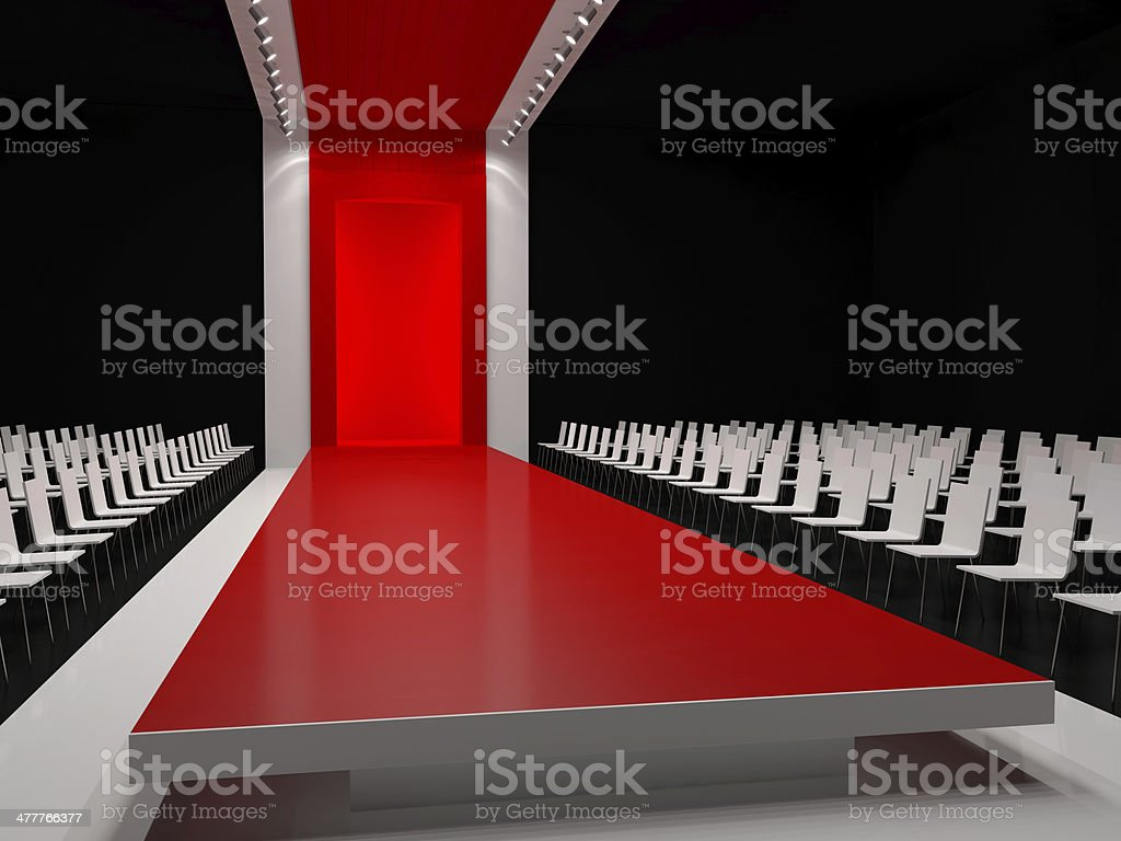 Empty red carpet, fashion runway stock photo