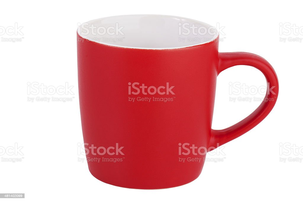 Empty red ceramic mug stock photo