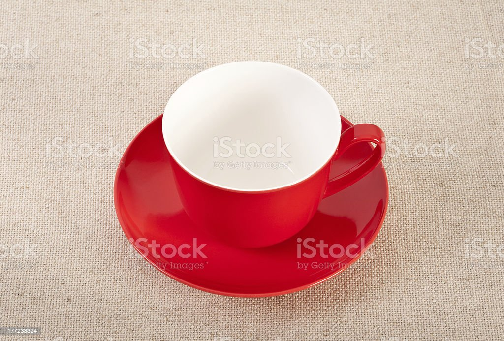 Empty red coffee cup on canvas background royalty-free stock photo