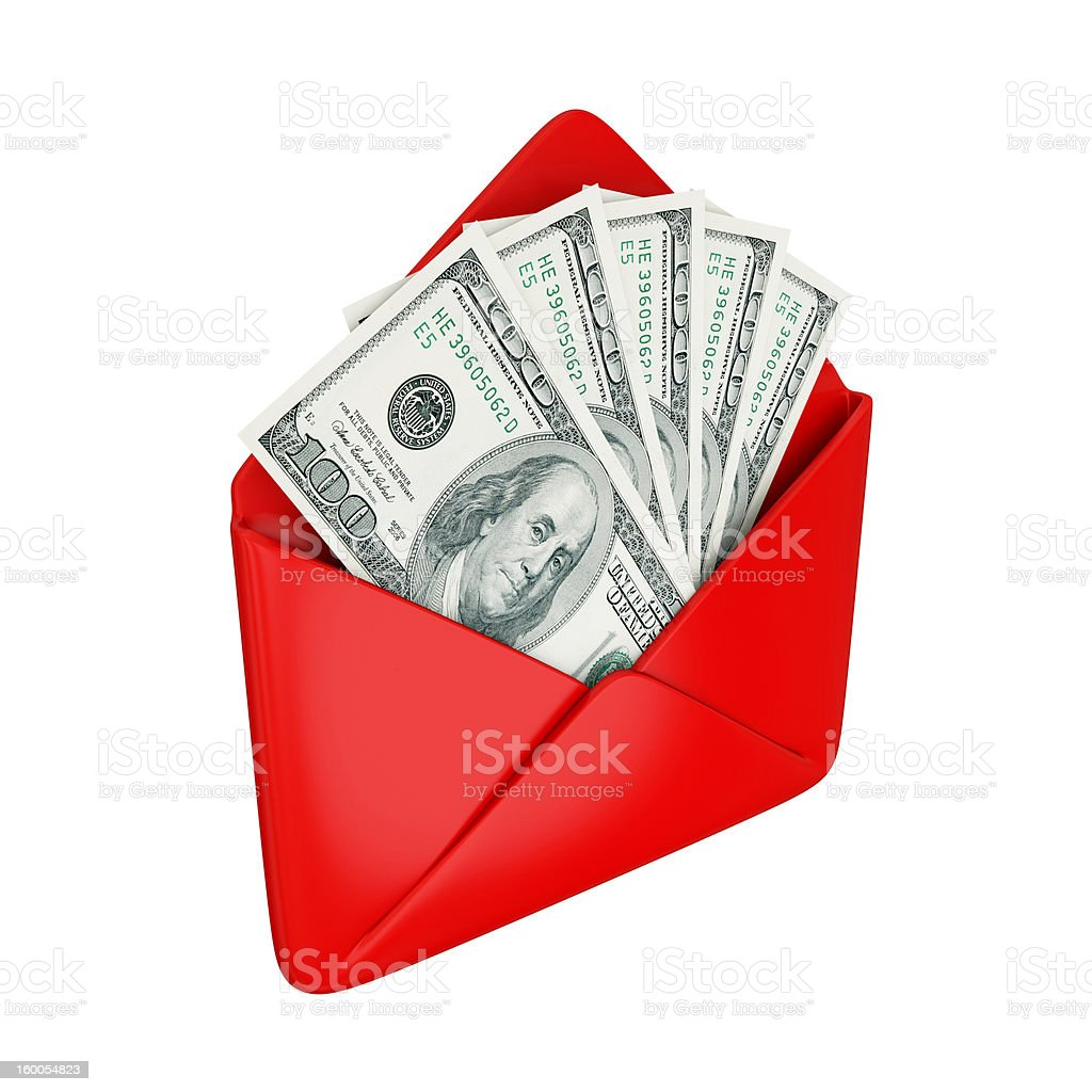 Empty red cover with dollars inside. royalty-free stock photo