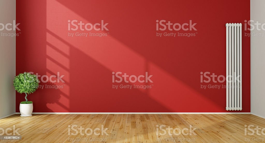 Empty Red Living Room stock photo