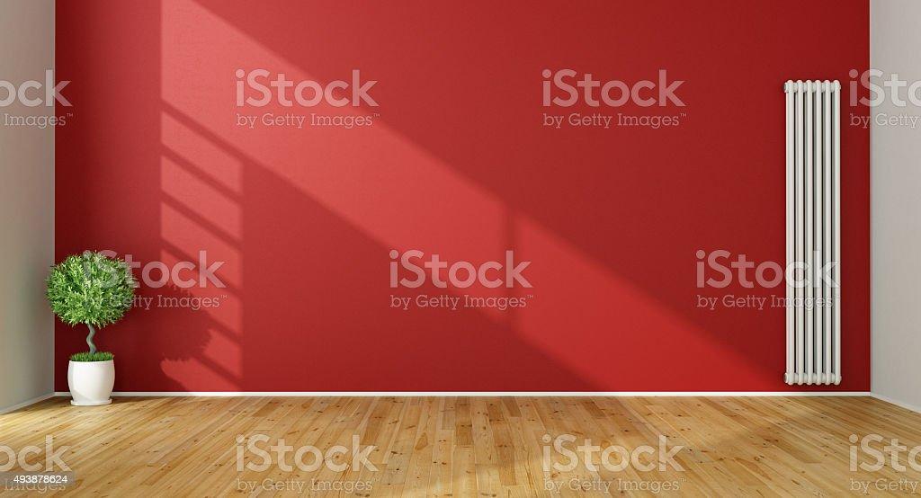 Empty Red Living Room Stock Photo
