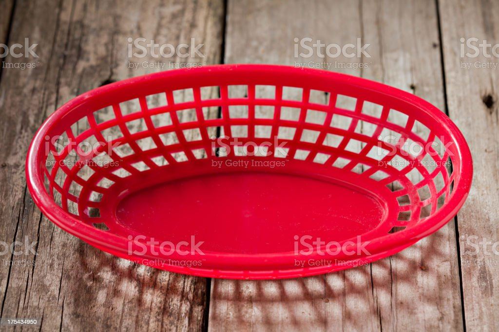 Empty Red Plastic Food Serving Basket stock photo