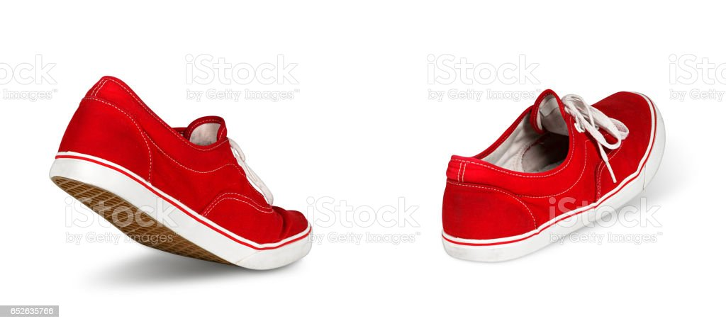empty red shoes walking concept stock photo
