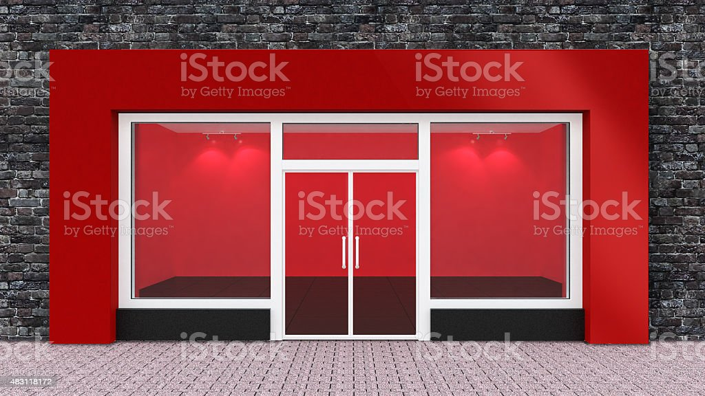 Empty Red Store Front with Big Windows stock photo