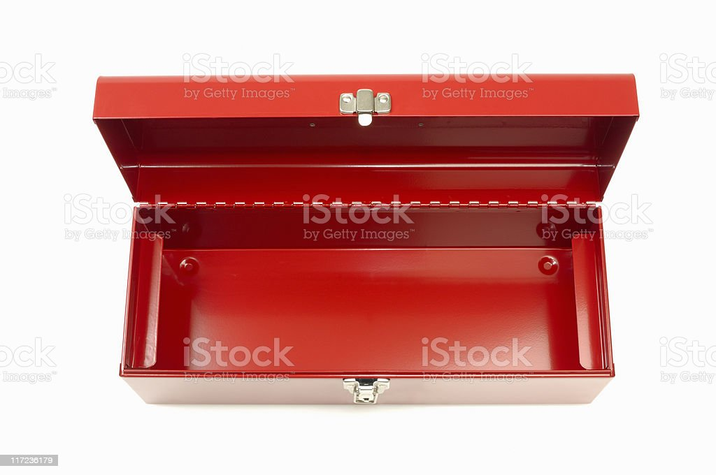 Empty red toolbox stock photo