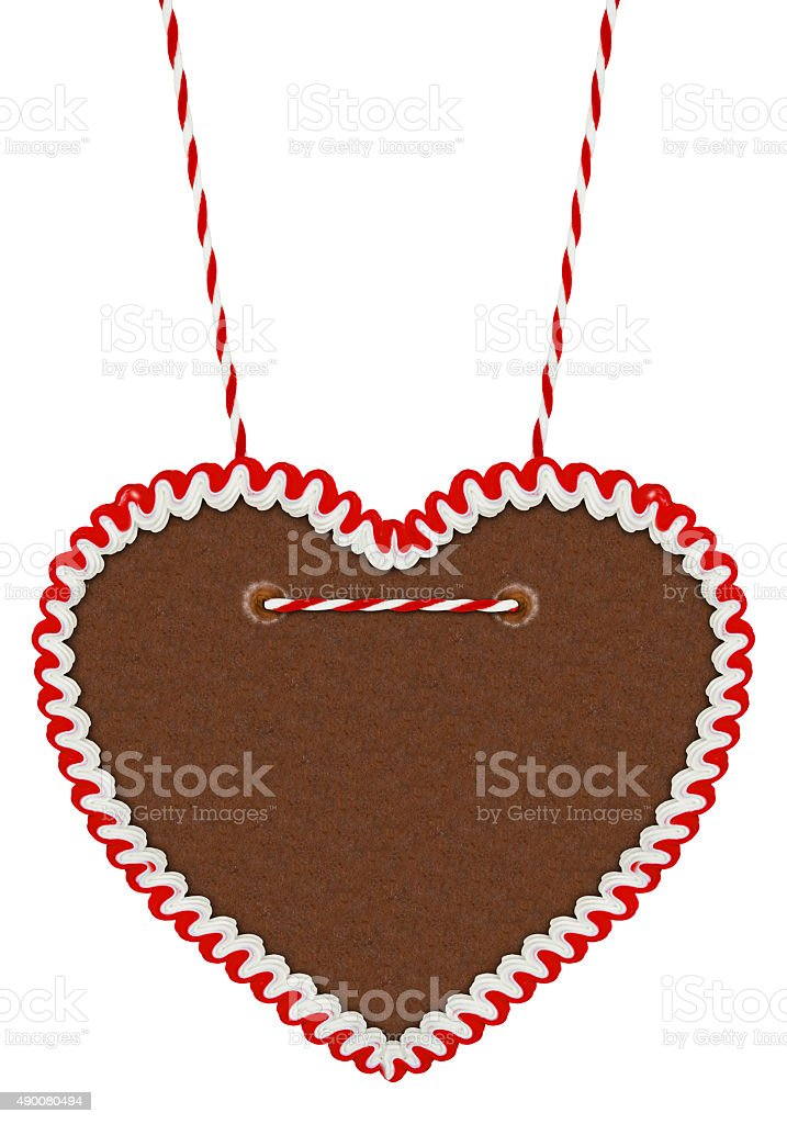 empty red white  gingerbread heart stock photo