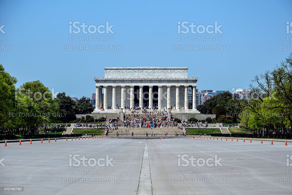 Empty Reflecting Pool Centered on Lincoln Memorial in April Daylight stock photo