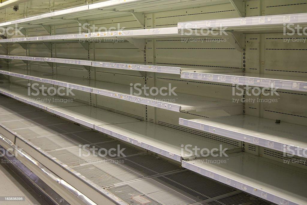 Empty Refrigerated Supermarket Shelves royalty-free stock photo