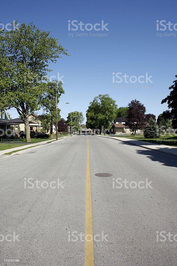 Empty Residential Street stock photo