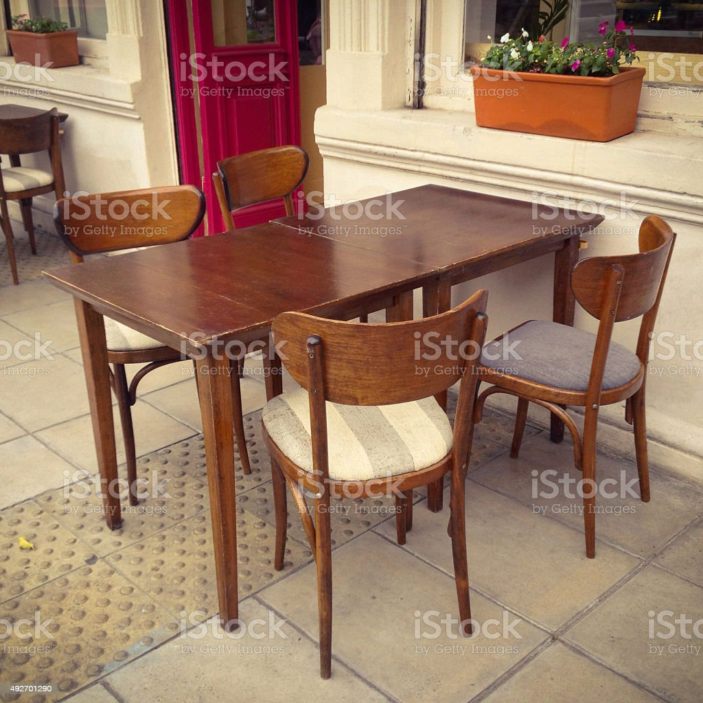 Empty restaurant table stock photo