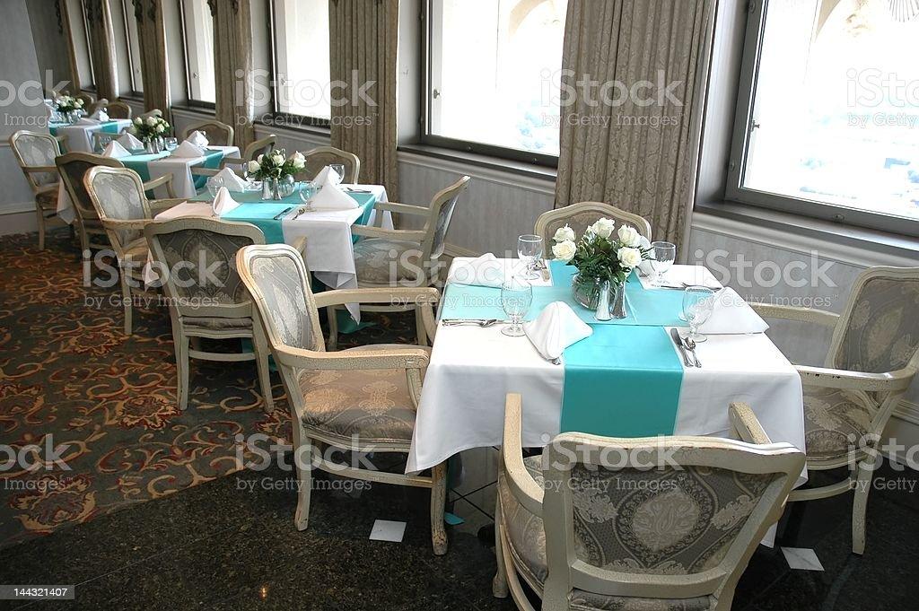 Empty Restaurant Tables stock photo