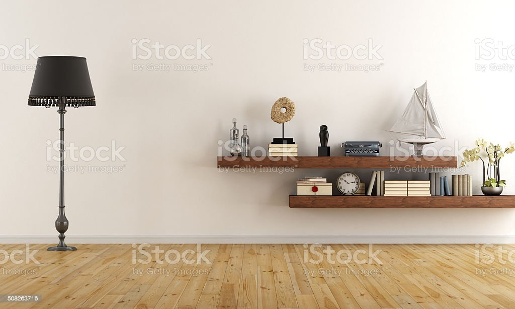 Empty retro living room stock photo