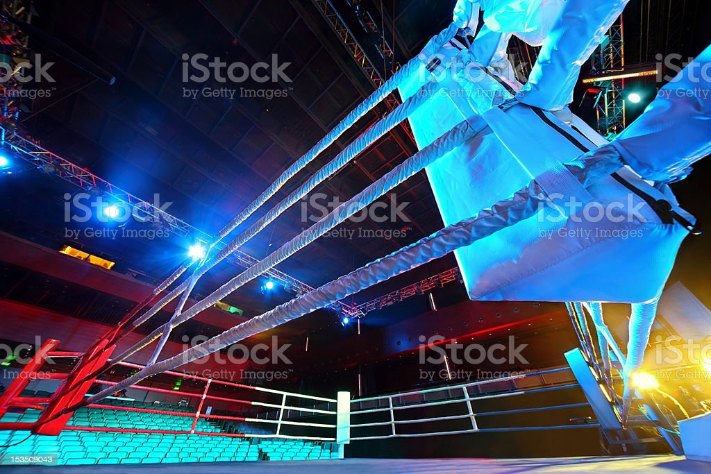 Empty ring geared-up for fight boxers stock photo