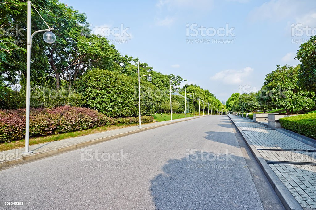 Empty road and lamp stock photo