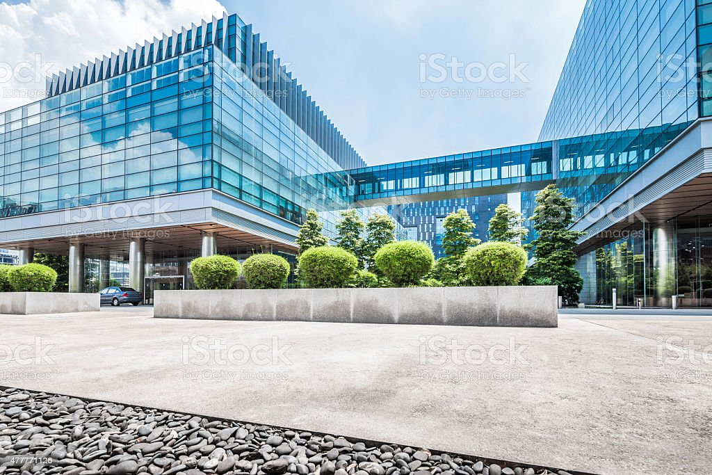 Empty road at building exterior stock photo