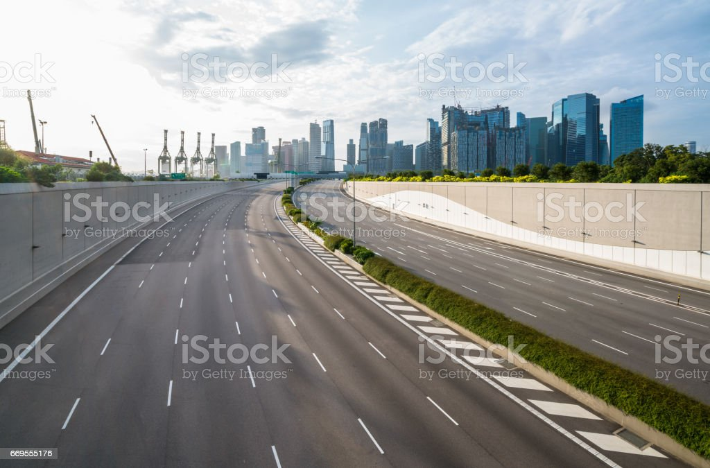 Empty road background in the modern city stock photo