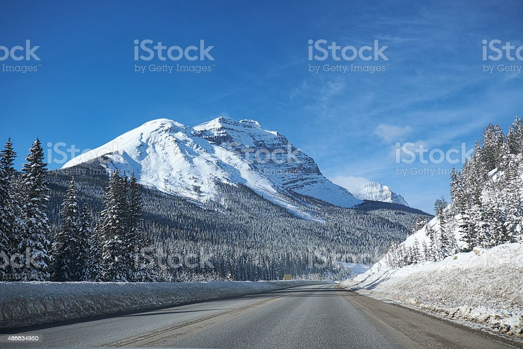 empty road Banff Canada stock photo