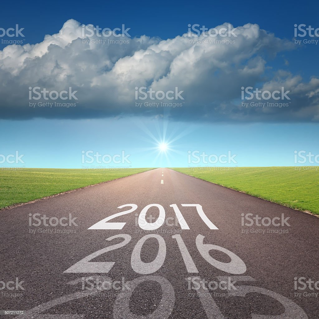 Empty road concept to upcoming 2016 new year stock photo