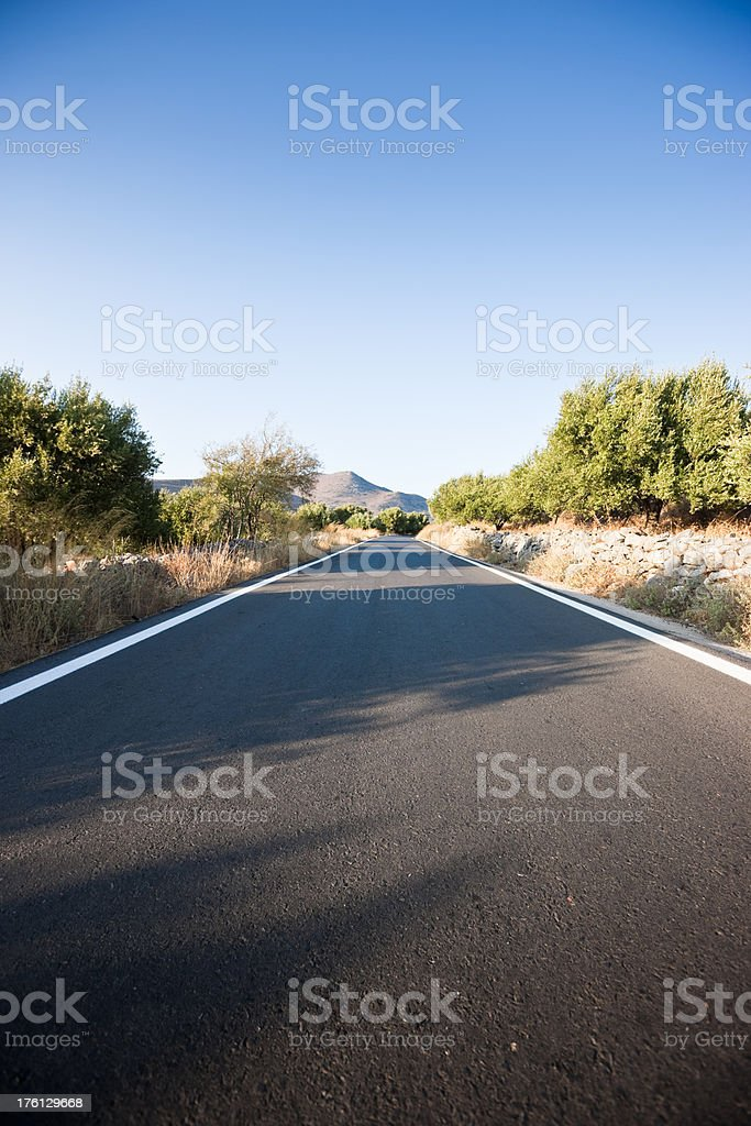 Empty Road Crete Greece royalty-free stock photo