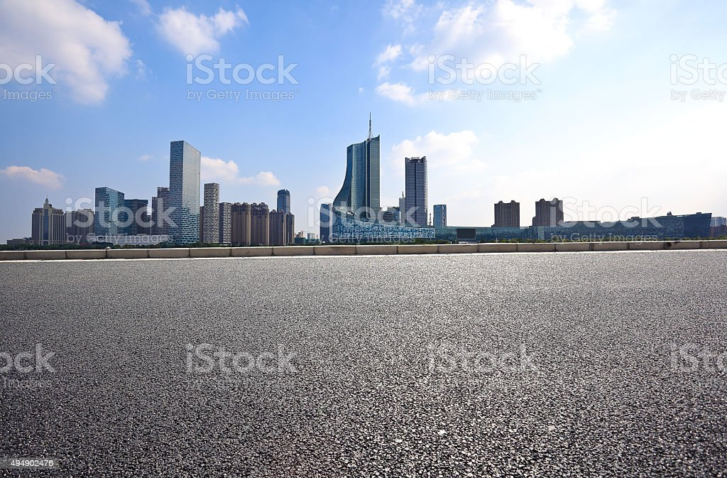 Empty road floor with City building background stock photo