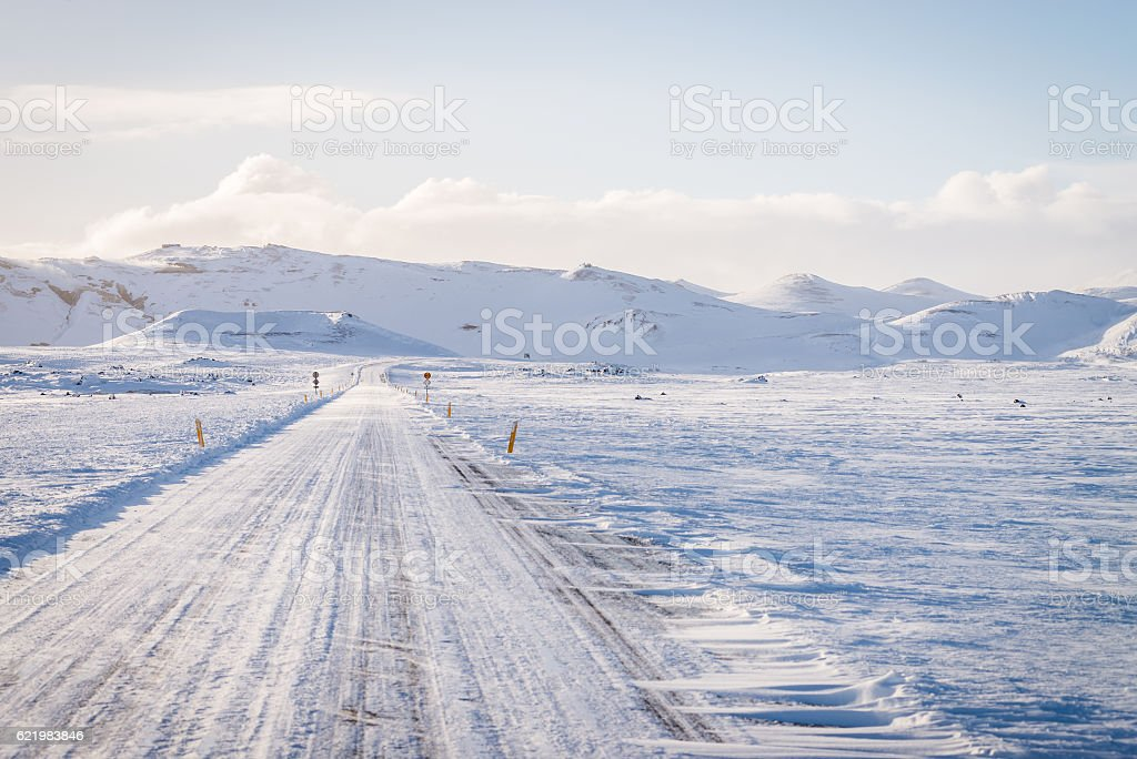 Empty road in Iceland stock photo