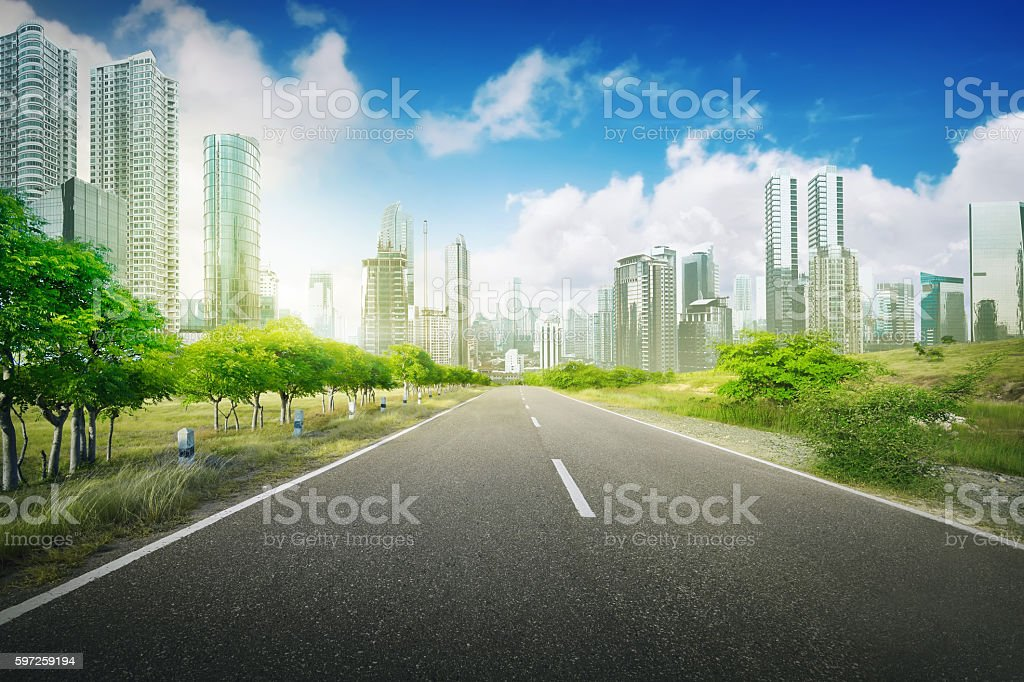 Empty road in the city stock photo