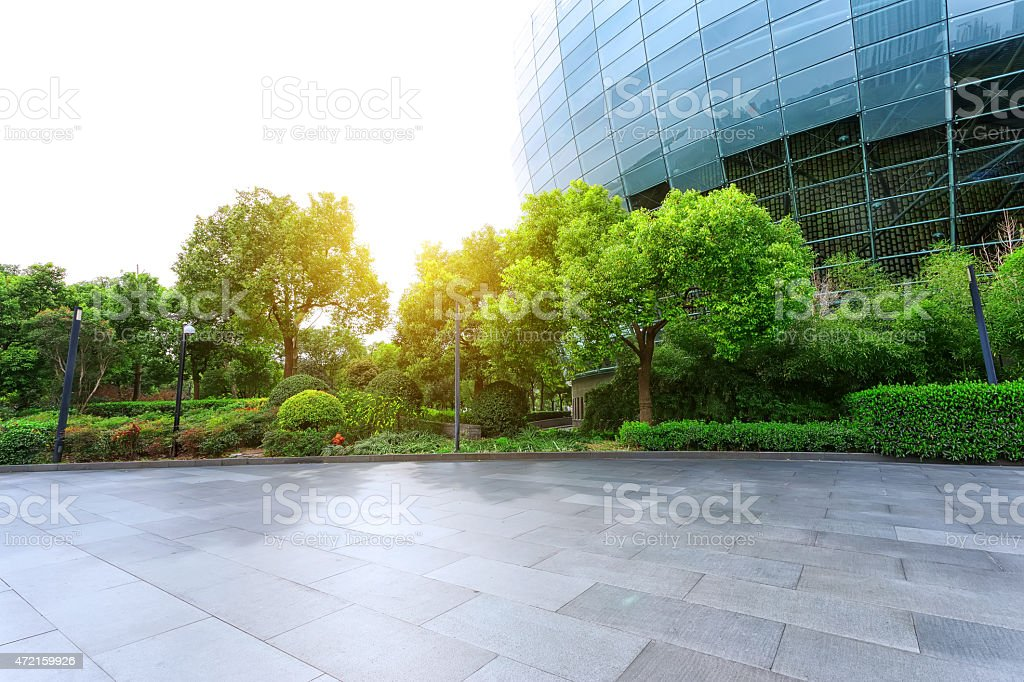 Empty road near modern building exterior stock photo