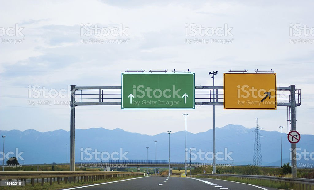 Empty road signs stock photo