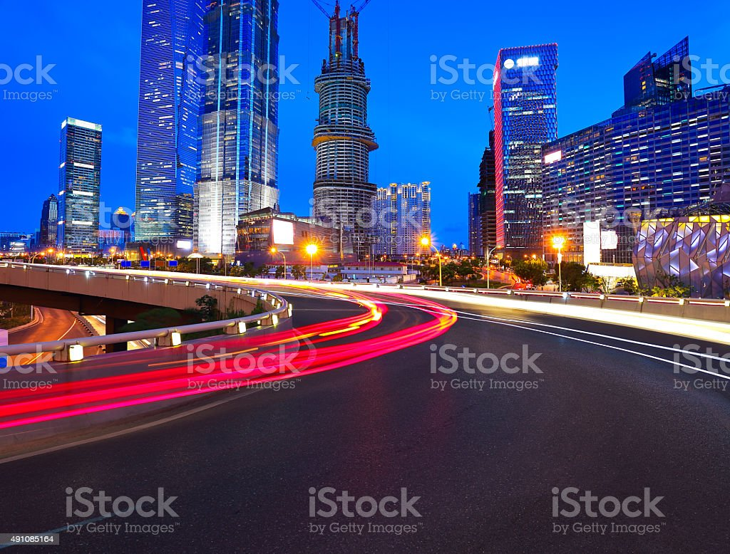 Empty road surface with shanghai lujiazui city buildings stock photo