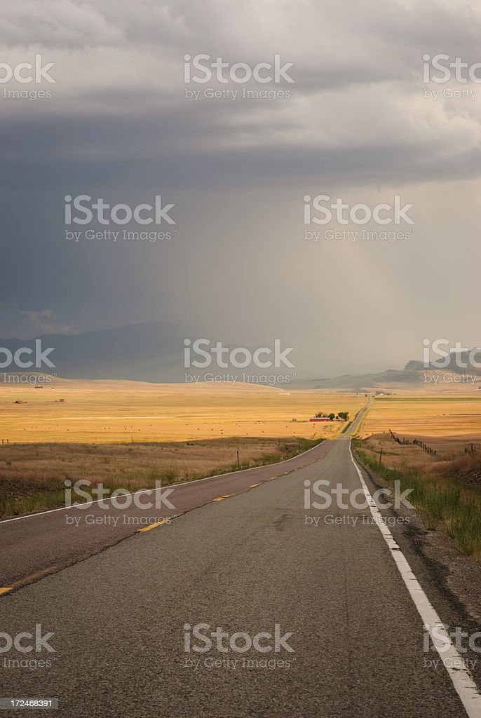 Empty Road Through Hay Fields royalty-free stock photo