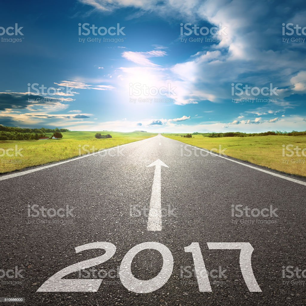 Empty road to upcoming 2017 at beautiful day stock photo
