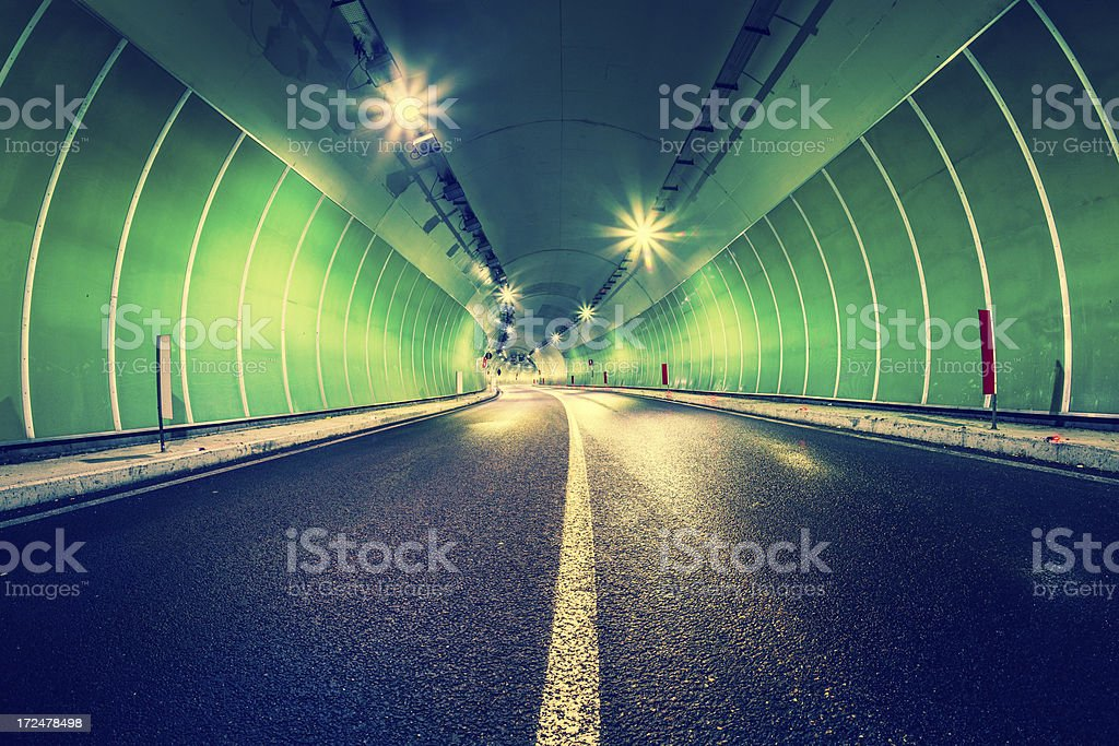 Empty Road Tunnel at Night royalty-free stock photo