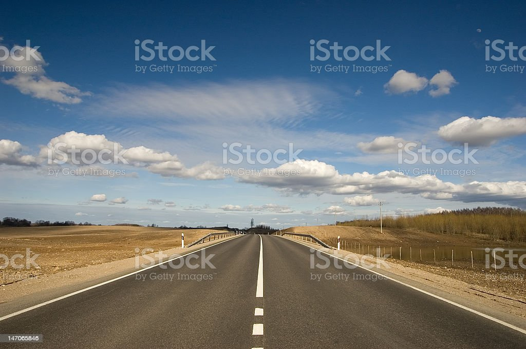 Empty road with blue sky royalty-free stock photo