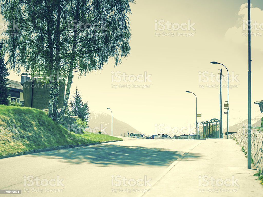 Empty Road with Bus stop royalty-free stock photo