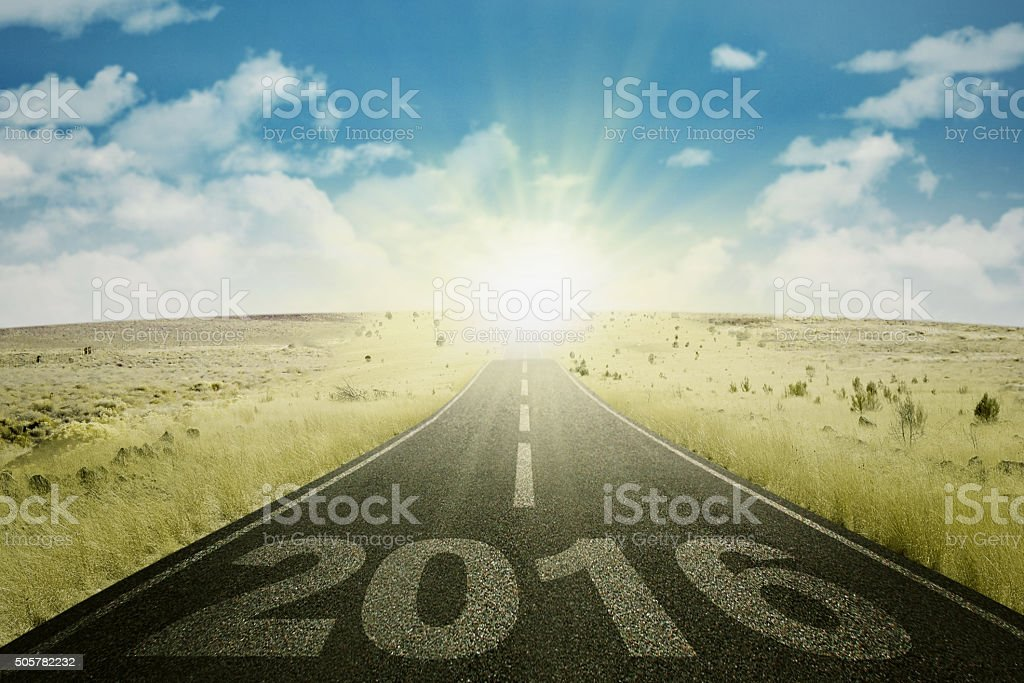 Empty road with numbers 2016 stock photo